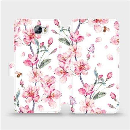 Flipové pouzdro Mobiwear na mobil Huawei Y6 II Compact - M124S Růžové květy