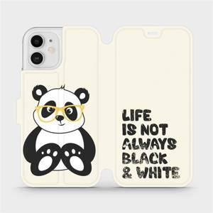 Flipové pouzdro Mobiwear na mobil Apple iPhone 12 - M041S Panda - life is not always black and white