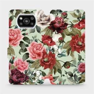 Flipové pouzdro Mobiwear na mobil Xiaomi Poco X3 Pro - MD06P Růže a květy na světle zeleném pozadí