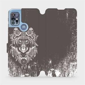 Flipové pouzdro Mobiwear na mobil Motorola Moto G20 - V064P Vlk a lapač snů