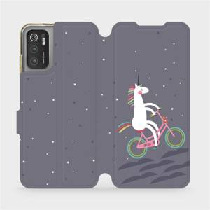 Flip pouzdro Mobiwear na mobil Xiaomi Poco M3 Pro 5G - V024P Jednorožec na kole