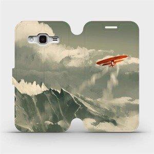 Flipové pouzdro Mobiwear na mobil Samsung Galaxy J3 2016 - MA03P Oranžové letadlo v horách