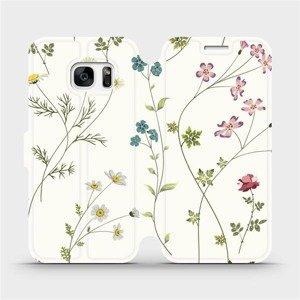 Flipové pouzdro Mobiwear na mobil Samsung Galaxy S7 - MD03S Tenké rostlinky s květy