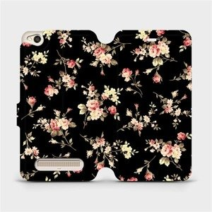 Flipové pouzdro Mobiwear na mobil Xiaomi Redmi 4A - VD02S Květy na černé
