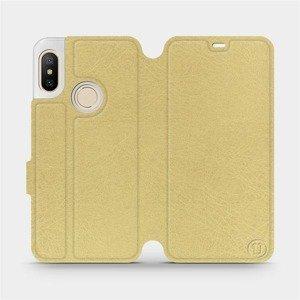 Flipové pouzdro Mobiwear na mobil Xiaomi Mi A2 Lite v provedení C_GOS Gold&Gray s šedým vnitřkem