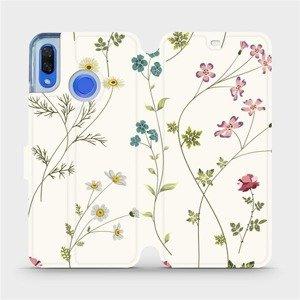 Flipové pouzdro Mobiwear na mobil Huawei Nova 3 - MD03S Tenké rostlinky s květy