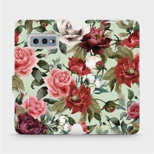 Flipové pouzdro Mobiwear na mobil Samsung Galaxy S10e - MD06P Růže a květy na světle zeleném pozadí