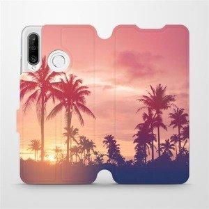 Flipové pouzdro Mobiwear na mobil Huawei P30 Lite - M134P Palmy a růžová obloha