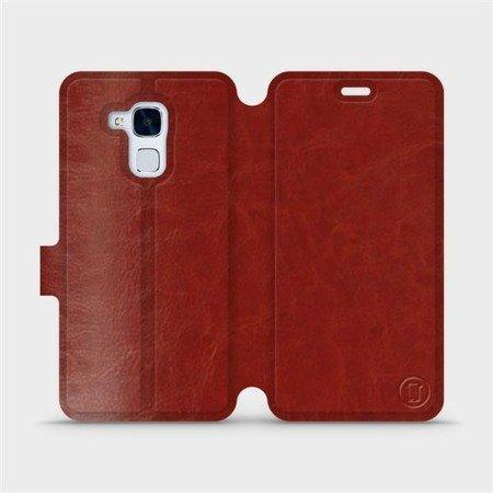 Parádní flip pouzdro Mobiwear na mobil Honor 7 Lite v provedení C_BRP Brown&Orange s oranžovým vnitřkem