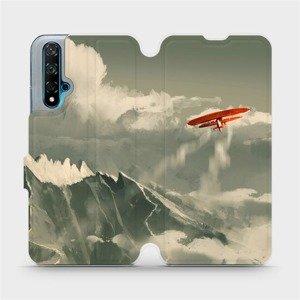 Flipové pouzdro Mobiwear na mobil Huawei Nova 5T - MA03P Oranžové letadlo v horách