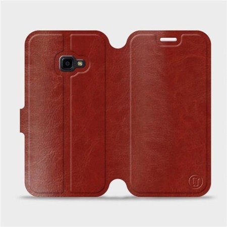 Parádní flip pouzdro Mobiwear na mobil Samsung Xcover 4 v provedení C_BRP Brown&Orange s oranžovým vnitřkem