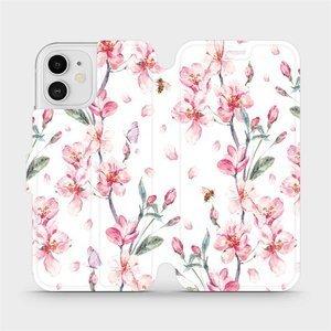 Flipové pouzdro Mobiwear na mobil Apple iPhone 12 - M124S Růžové květy