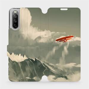Flip pouzdro Mobiwear na mobil Sony Xperia 10 III - MA03P Oranžové letadlo v horách