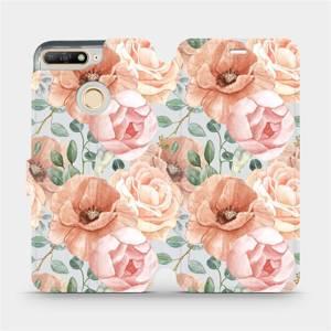 Flip pouzdro Mobiwear na mobil Huawei Y6 Prime 2018 - MP02S Pastelové květy