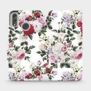 Flipové pouzdro Mobiwear na mobil Honor 8X - MD01S Růže na bílé