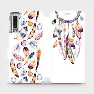 Flipové pouzdro Mobiwear na mobil Samsung Galaxy A7 2018 - M003S Lapač a barevná pírka