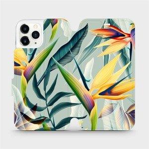 Flipové pouzdro Mobiwear na mobil Apple iPhone 11 Pro - MC02S Žluté velké květy a zelené listy