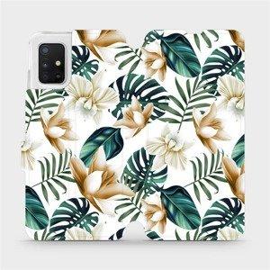 Flipové pouzdro Mobiwear na mobil Samsung Galaxy A51 - MC07P Zlatavé květy a zelené listy