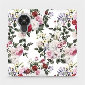 Flipové pouzdro Mobiwear na mobil Nokia 5.3 - MD01S Růže na bílé