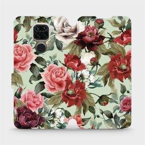 Flipové pouzdro Mobiwear na mobil Xiaomi Redmi Note 9 - MD06P Růže a květy na světle zeleném pozadí