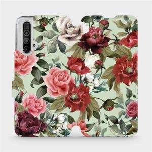 Flipové pouzdro Mobiwear na mobil Realme X3 SuperZoom - MD06P Růže a květy na světle zeleném pozadí