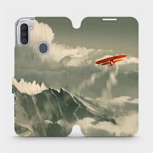 Flipové pouzdro Mobiwear na mobil Samsung Galaxy M11 - MA03P Oranžové letadlo v horách
