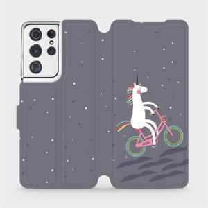 Flipové pouzdro Mobiwear na mobil Samsung Galaxy S21 Ultra 5G - V024P Jednorožec na kole