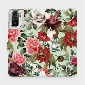 Flipové pouzdro Mobiwear na mobil Xiaomi Redmi Note 10 - MD06P Růže a květy na světle zeleném pozadí