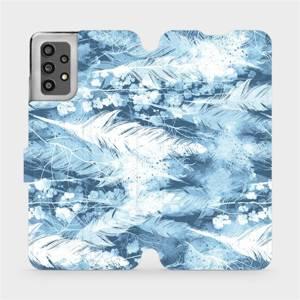 Flip pouzdro Mobiwear na mobil Samsung Galaxy A32 LTE - M058S Světle modrá horizontální pírka
