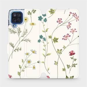 Flipové pouzdro Mobiwear na mobil Samsung Galaxy M12 - MD03S Tenké rostlinky s květy