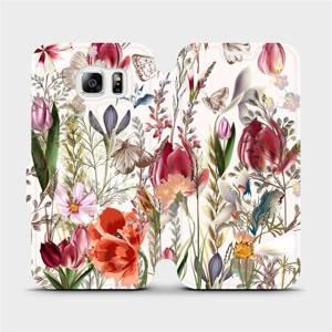 Flip pouzdro Mobiwear na mobil Samsung Galaxy S6 - MP01S Rozkvetlá louka
