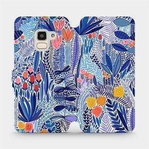 Flip pouzdro Mobiwear na mobil Samsung Galaxy J6 2018 - MP03P Modrá květena