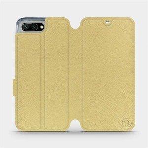 Flipové pouzdro Mobiwear na mobil Honor 10 v provedení C_GOP Gold&Orange s oranžovým vnitřkem