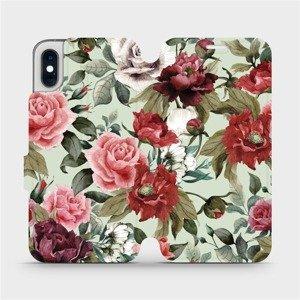 Flipové pouzdro Mobiwear na mobil Apple iPhone XS - MD06P Růže a květy na světle zeleném pozadí