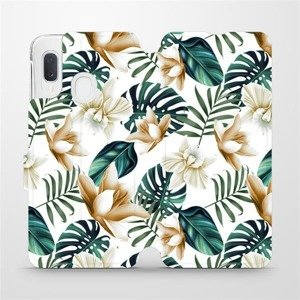 Flipové pouzdro Mobiwear na mobil Samsung Galaxy A20e - MC07P Zlatavé květy a zelené listy