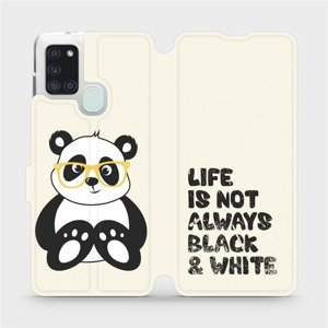 Flipové pouzdro Mobiwear na mobil Samsung Galaxy A21S - M041S Panda - life is not always black and white