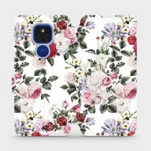 Flipové pouzdro Mobiwear na mobil Motorola Moto E7 Plus - MD01S Růže na bílé