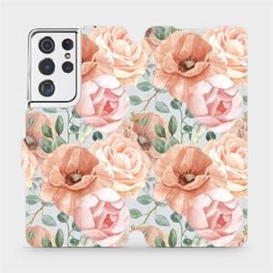 Flip pouzdro Mobiwear na mobil Samsung Galaxy S21 Ultra - MP02S Pastelové květy