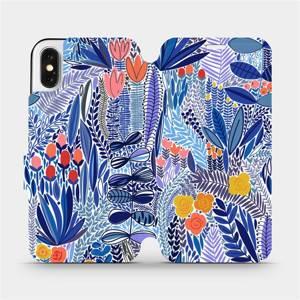 Flip pouzdro Mobiwear na mobil Apple iPhone X - MP03P Modrá květena