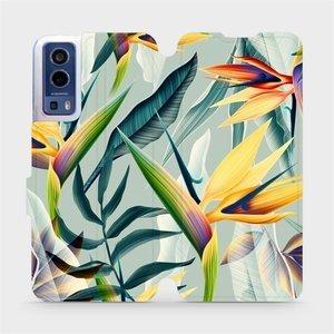 Flip pouzdro Mobiwear na mobil Vivo Y72 5G / Vivo Y52 5G - MC02S Žluté velké květy a zelené listy