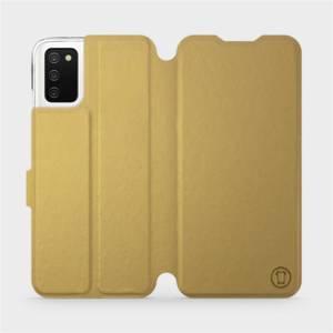 Flip pouzdro Mobiwear na mobil Samsung Galaxy A03s v provedení C_GOP Gold&Orange s oranžovým vnitřkem