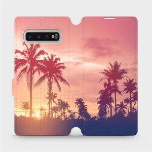 Flipové pouzdro Mobiwear na mobil Samsung Galaxy S10 Plus - M134P Palmy a růžová obloha