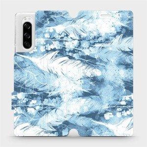 Flipové pouzdro Mobiwear na mobil Sony Xperia 5 - M058S Světle modrá horizontální pírka
