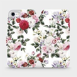 Flipové pouzdro Mobiwear na mobil Apple iPhone SE 2020 - MD01S Růže na bílé
