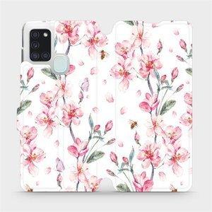 Flipové pouzdro Mobiwear na mobil Samsung Galaxy A21S - M124S Růžové květy