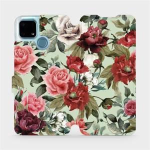 Flip pouzdro Mobiwear na mobil Realme 7i - MD06P Růže a květy na světle zeleném pozadí