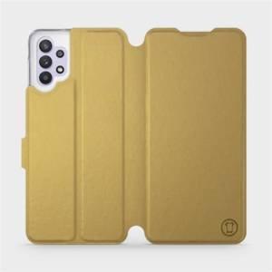 Flipové pouzdro Mobiwear na mobil Samsung Galaxy A32 5G v provedení C_GOS Gold&Gray s šedým vnitřkem