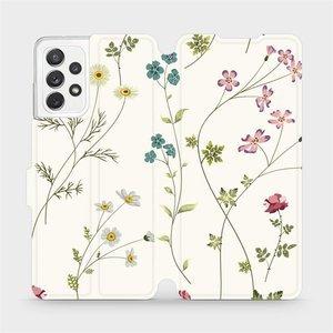 Flipové pouzdro Mobiwear na mobil Samsung Galaxy A72 - MD03S Tenké rostlinky s květy