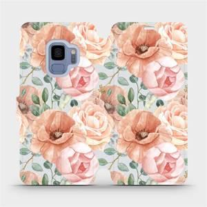 Flip pouzdro Mobiwear na mobil Samsung Galaxy S9 - MP02S Pastelové květy