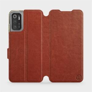 Flip pouzdro Mobiwear na mobil Xiaomi Poco M3 Pro 5G v provedení C_BRS Brown&Gray s šedým vnitřkem